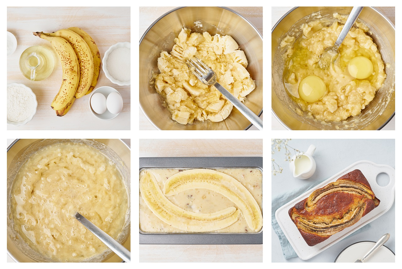 Banana-bread.-Collage-step-by-step-recipe.-Cake-with-banana.-Traditional-american-cuisine