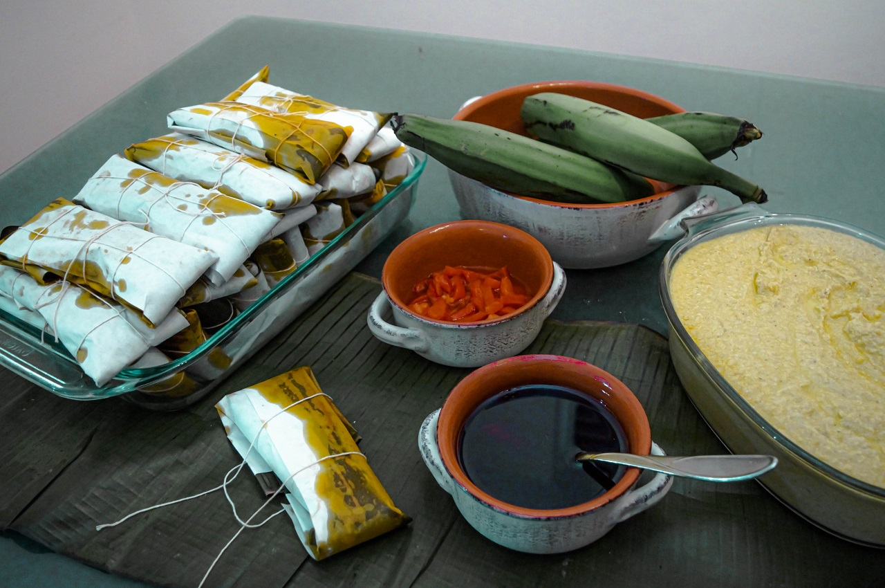 Making-and-wrapping-Puerto-Rican-pasteles